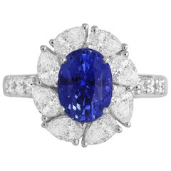 2.54 Carat Oval Cut Vivid Blue Ceylon Sapphire and Diamond Ring in White Gold