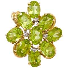 2.54 Carat Peridot Diamond Ring, Cluster Ring with Green Peridot Nine Gemstones