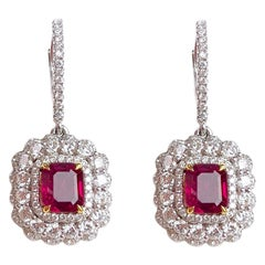 2.54 Carat Fine Ruby and 2.00 Carat Diamond Drop Dangle Halo Earrings
