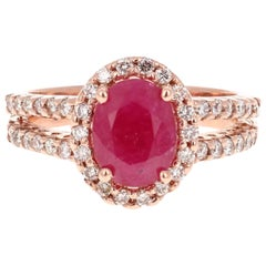 2.54 Carat Ruby Diamond 14 Karat Rose Gold Ring