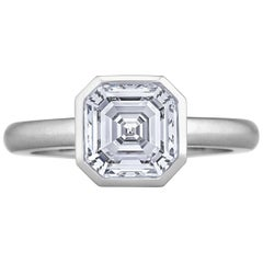 2.54 Carat Square Asscher Cut Diamond Platinum Modern Bezel Set Ring