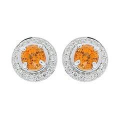 2.54 Carat Total Orange Spessartite Garnet and Diamond White Gold Earring