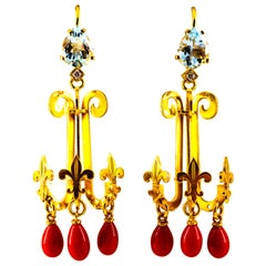 2.54 Carat White Diamond Aquamarine Red Coral Yellow Gold Chandelier Earrings