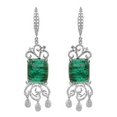 25.45 Carat Vivid Green Emerald Sugarloaf 1.78 Carat Diamond Dangle Earring