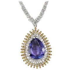 25.48 Carat Tanzanite 18 Karat White Gold Diamond Necklace