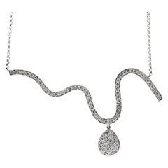 2.54ct Diamond Wave Necklace in 18kt and Platinum, Made in USA