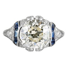 2.55 Carat Art Deco Diamond Solitaire Ring with Sapphire Accents