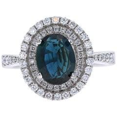 2.55 Carat Blue Sapphire 14 Karat Halo Diamond White Gold Ring