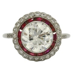 2.50 Carat Diamond Solitaire Engagement Ring Edwardian Style Ruby Halo Platinum