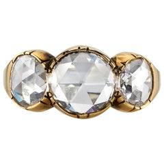 2.55 Carat GIA Certified Rose Cut Diamonds Set in an 18 Karat Oxidized Gold Ring