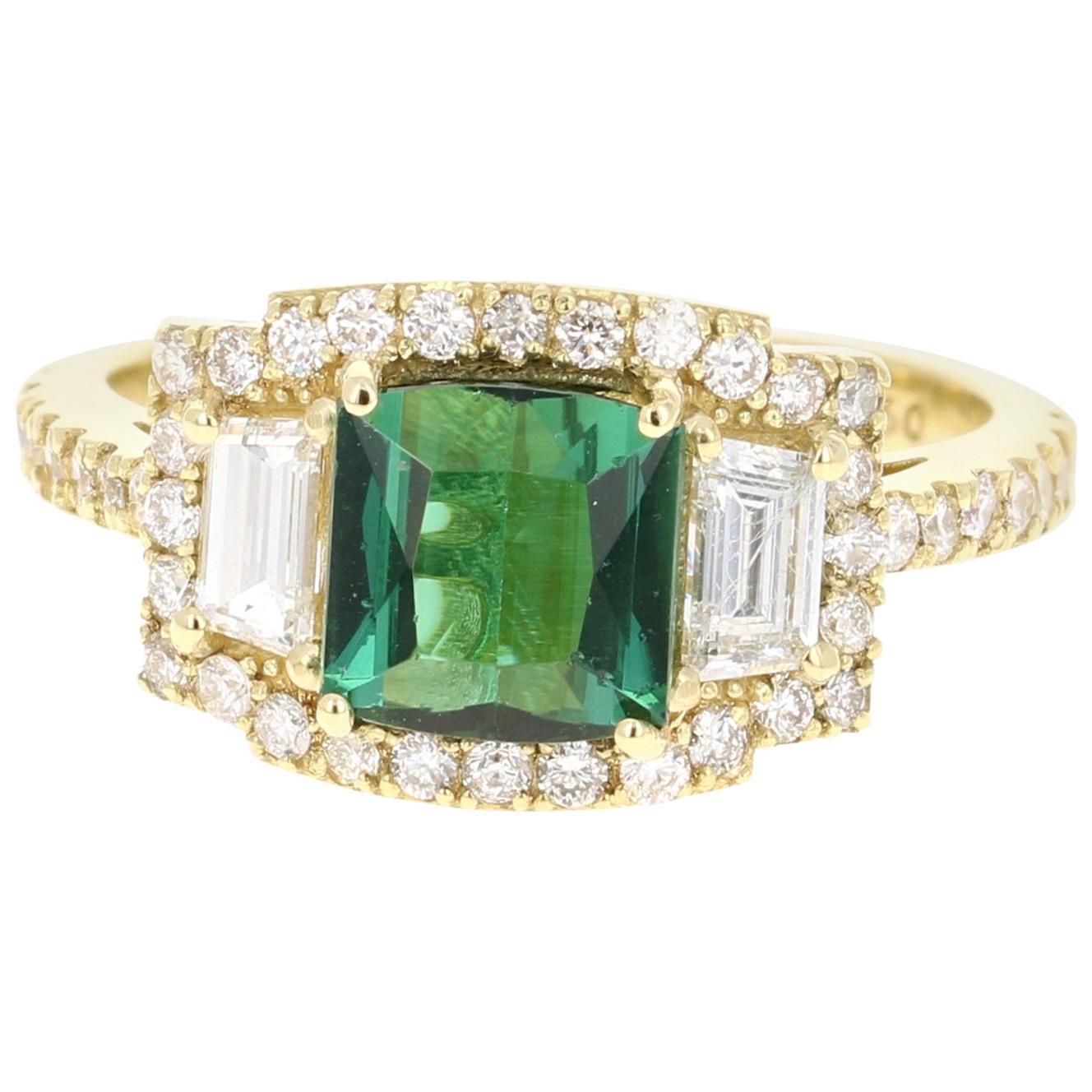 2.55 Carat Green Tourmaline Diamond 18 Karat Yellow Gold Three-Stone Ring