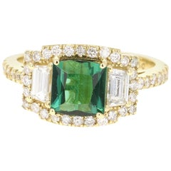 2.55 Carat Green Tourmaline Diamond 18 Karat Yellow Gold Three-Stone Ring