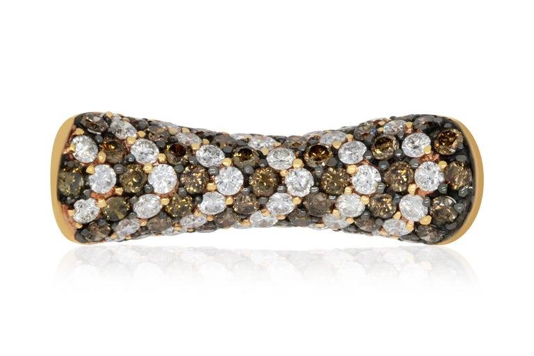 Contemporary 2.55 Carat Natural Cognac Color Diamond and 2.06 Carat Diamond Ring For Sale