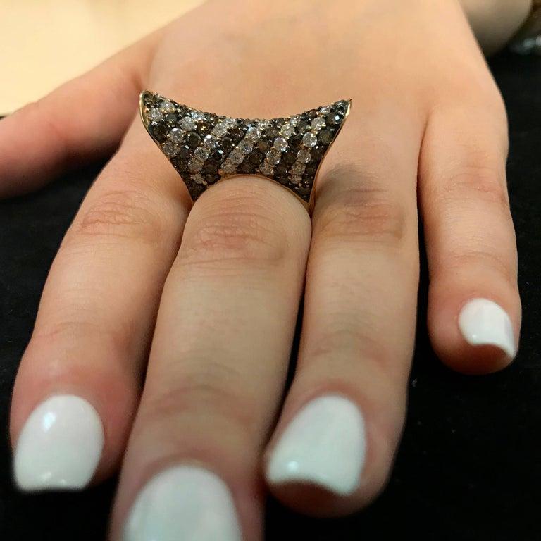 Round Cut 2.55 Carat Natural Cognac Color Diamond and 2.06 Carat Diamond Ring For Sale