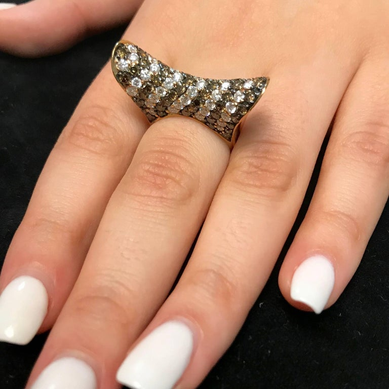 2.55 Carat Natural Cognac Color Diamond and 2.06 Carat Diamond Ring In New Condition For Sale In GREAT NECK, NY