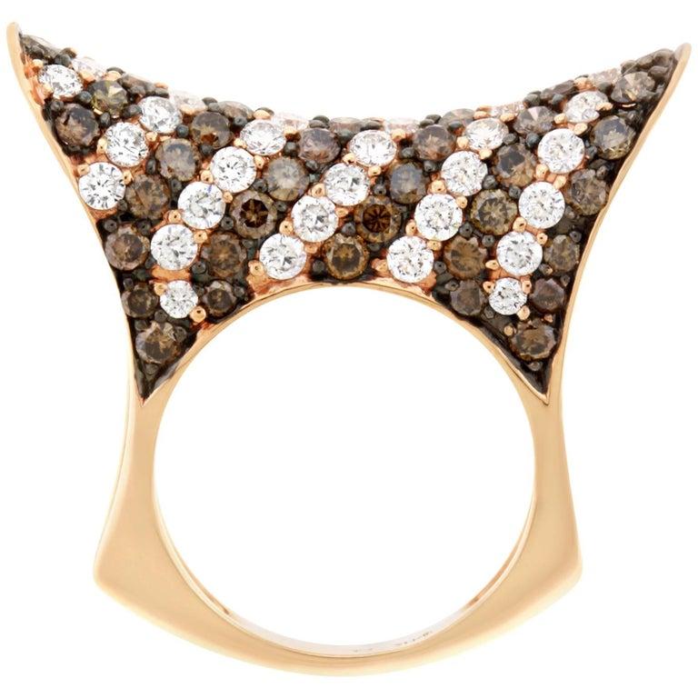 2.55 Carat Natural Cognac Color Diamond and 2.06 Carat Diamond Ring For Sale