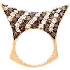 2.55 Carat Natural Cognac Color Diamond and 2.06 Carat Diamond Ring