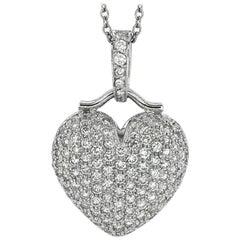 2.55 Carat Natural Diamond Heart Necklace G SI 14 Karat White Gold Chain