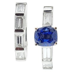 2.55 Carat Natural Sapphire and Diamond Ring Set in Platinum