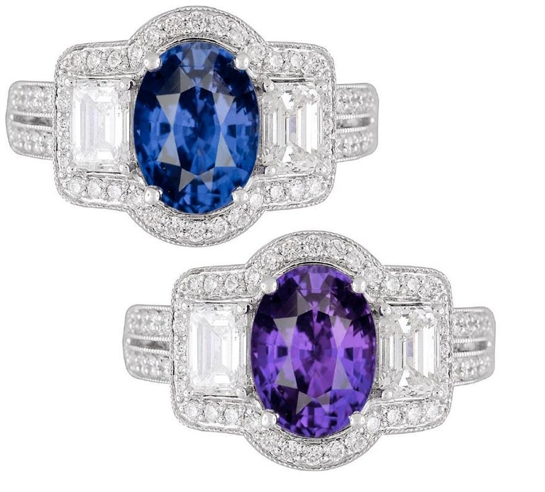 GIA Certified 2.55 Carat Oval Cut Bicolor Sapphire and 1.16 Carat Diamond Ring For Sale 1
