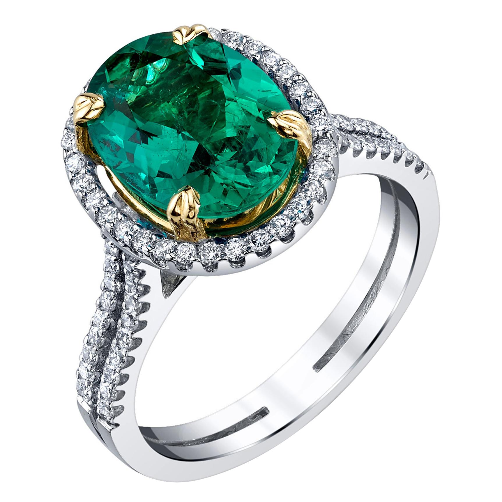 2.55 Carat Oval Emerald and Diamond Halo White, Yellow Gold Cocktail Ring