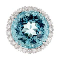 25.50 Carat Santa Maria Round Aquamarine Diamond Halo Gold Cocktail Ring