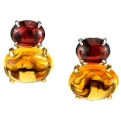 Citrine and Garnet Cabochon French Clip  Earrings 18 Karat Yellow and White Gold