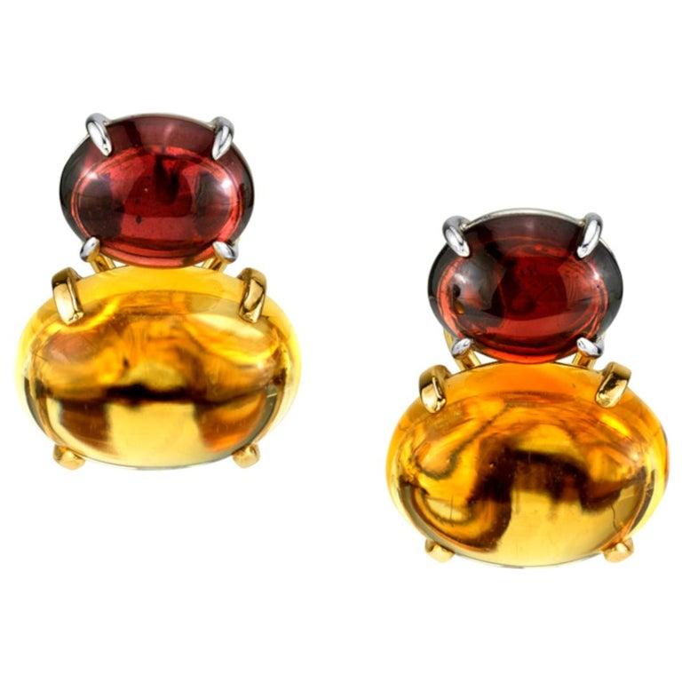 Citrine & Garnet Oval Cabochon, 18k Yellow, White Gold French Clip Drop Earrings For Sale