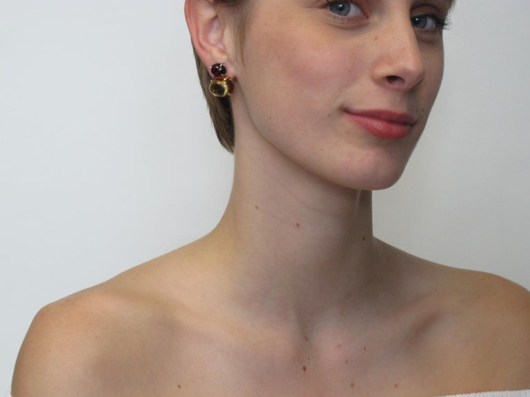 Citrine & Garnet Oval Cabochon, 18k Yellow, White Gold French Clip Drop Earrings For Sale 2