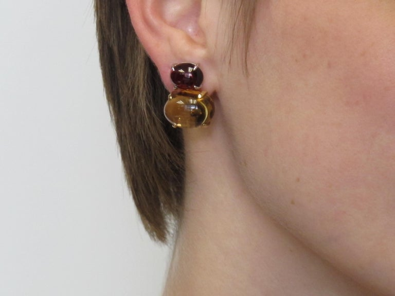 Citrine & Garnet Oval Cabochon, 18k Yellow, White Gold French Clip Drop Earrings For Sale 3