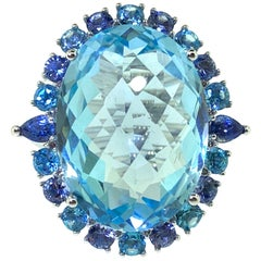25.55 Carat Sky Blue Topaz Sapphire and Diamond Cocktail Ring