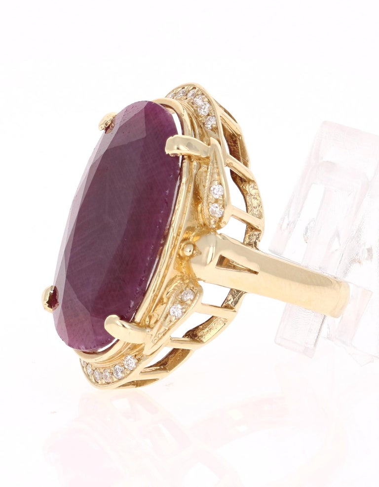 Victorian 25.59 Carat Ruby Diamond Yellow Gold Ring For Sale