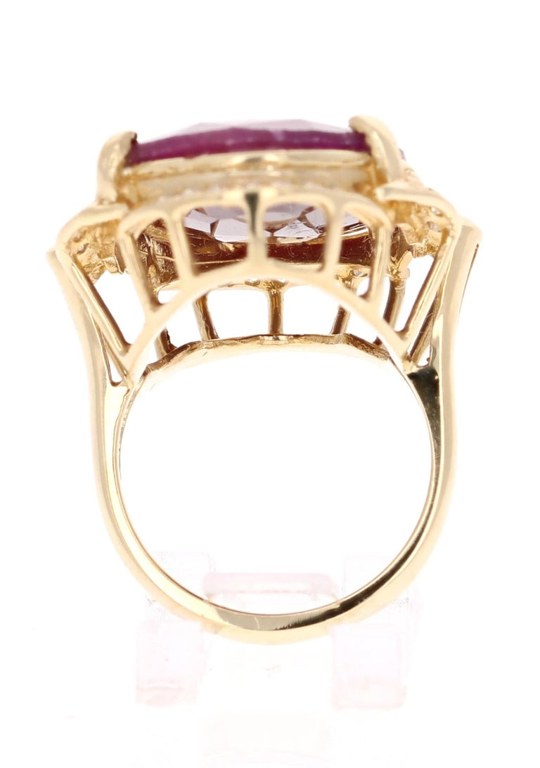 Oval Cut 25.59 Carat Ruby Diamond Yellow Gold Ring For Sale