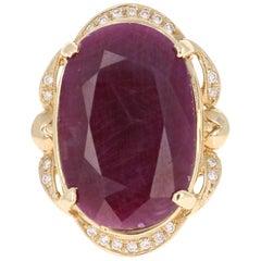 25.59 Carat Ruby Diamond Yellow Gold Ring