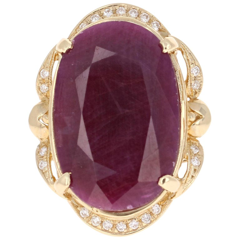 25.59 Carat Ruby Diamond Yellow Gold Ring For Sale