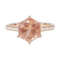 2.55ct Hexagon Shape Oregon Sunstone 14k Rose Gold Ring Diamond Pave Band AD2327
