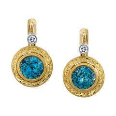 2.56 Carat Blue Zircon and Diamond 18 Karat Yellow Gold Earrings