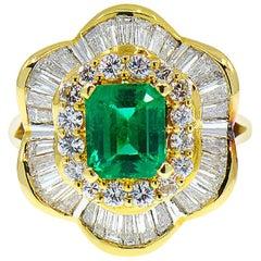 2.56 Carat Colombian Emerald and Diamond Ballerina Ring