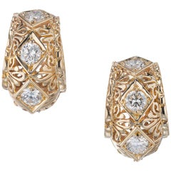 2.56 Carat Diamond Yellow Gold Hoop Earrings