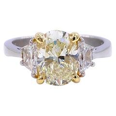 2.56 Carat Fancy Oval Diamond 3-Stone Platinum Engagement Ring GIA