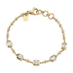 2.56 Carat G/VS Bezel Set Emerald Cut Diamonds on a 18 Karat Gold Bracelet