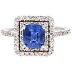 2.56 Carat GIA Certified Blue Sapphire Engagement Ring 18 Karat White Gold