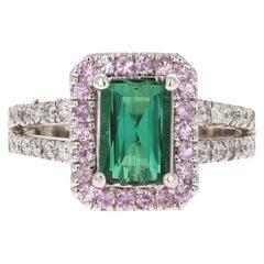 2.56 Carat Green Tourmaline, Sapphire and Diamond Ring 14 Karat White Gold