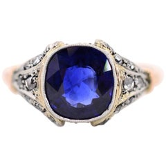 2.56 Carat Sapphire Diamond Platinum Gold Ring