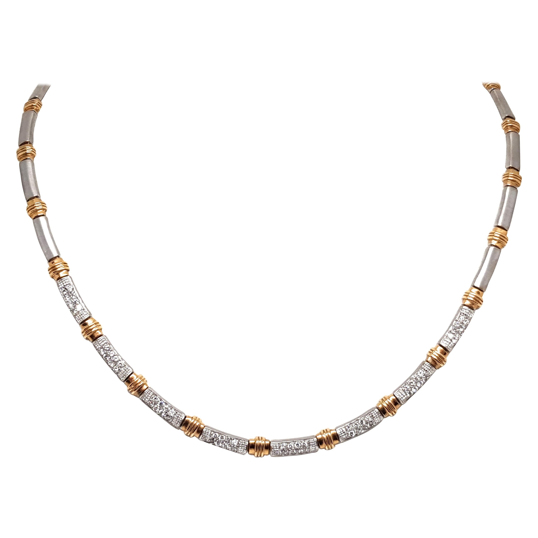 2.56 Carat White Yellow Gold Diamond Necklace