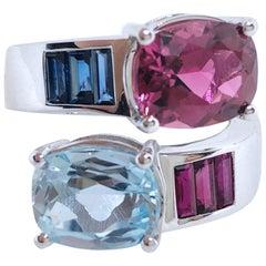 Berca 2.57 Aquamarine 2.8 Pink Tourmaline Sapphire Ruby Baguette Toi Moi Ring
