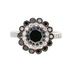 2.57 Carat Black and White Diamond 14 Karat White Gold Engagement Ring