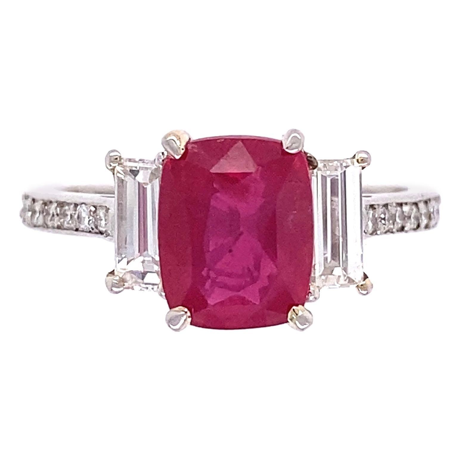 2.57 Carat Cushion Ruby and Diamond Cocktail Platinum Ring Estate Fine Jewelry