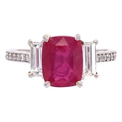 2.57 Carat Cushion Ruby and Diamond Cocktail Platinum Ring Estate Fine Jewelry