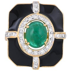 2.57 Carat Emerald Diamond Black Enamel 18 Karat Yellow Gold Ring
